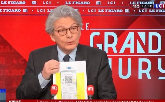 Майбутній європейський сертифікат здоров'я, який діятиме з 15 червня представив єврокомісар Т'єрі Бретон, відповідальний за вакцини.