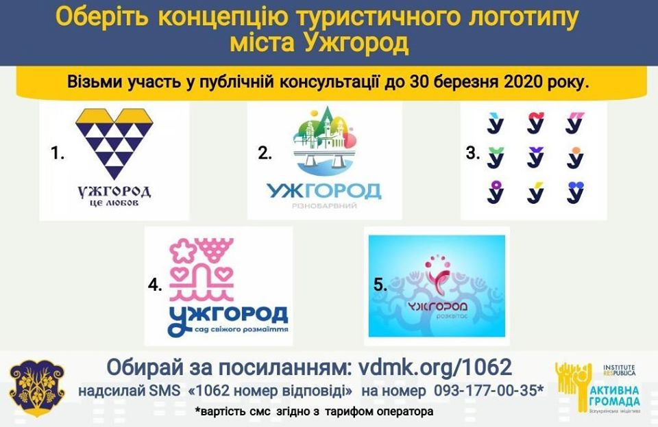 В Ужгороді 17 березня оголосили про старт публічної консультації та запросили ужгородців обрати концепцію туристичного логотипу міста.