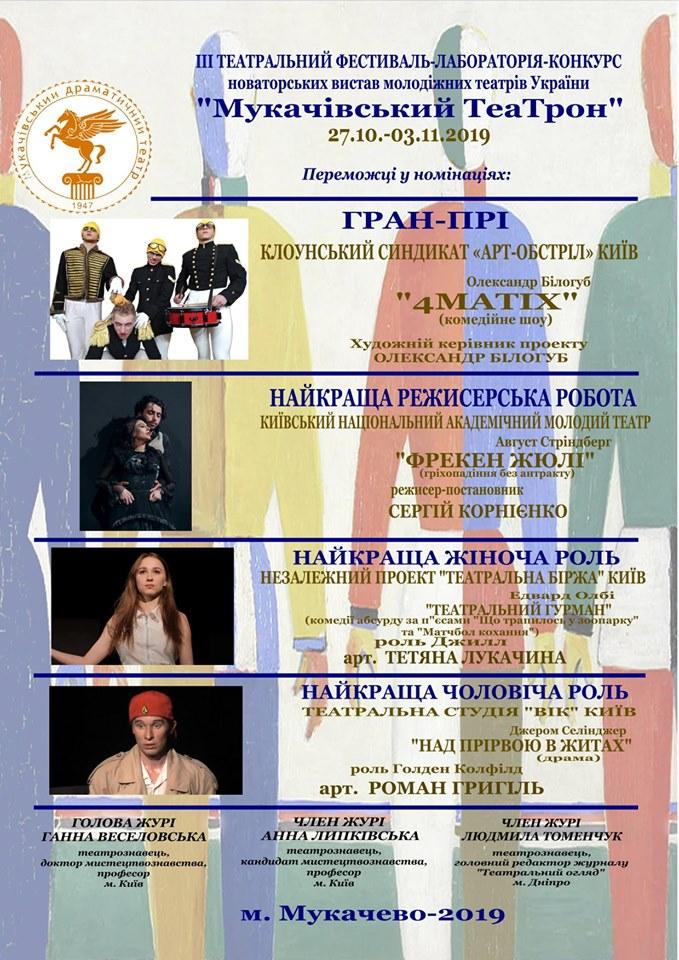 З 27 жовтня по 3 листопада, на сцені Мукачівського драматичного театру шанувальникам мистецтва Мельпомени презентували свої кращі вистави молодіжні театри України.
