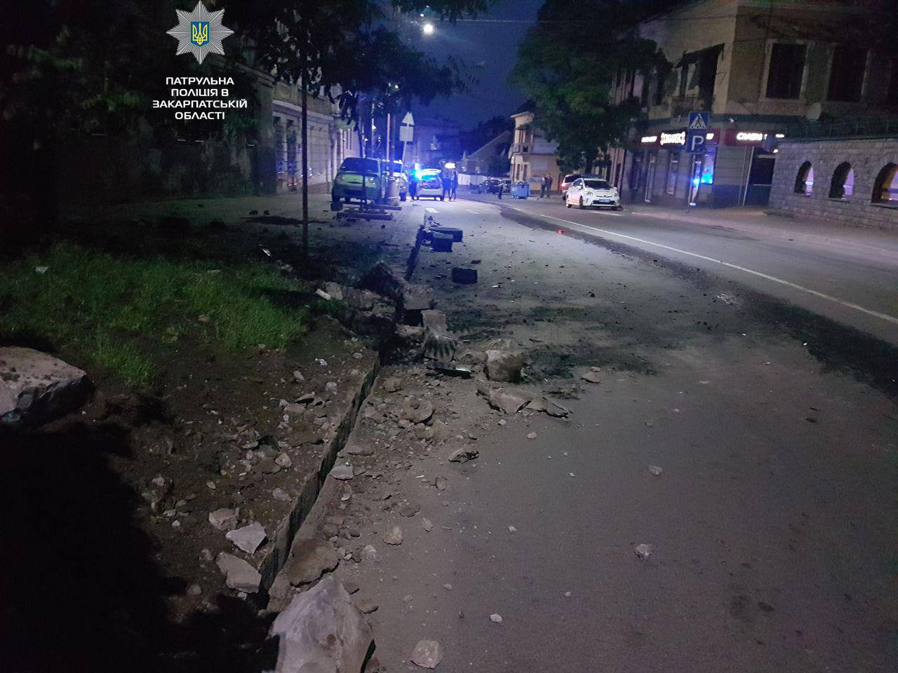 На Собранецькій в Ужгороді ДТП: авто протаранило бордюр і врізалось в будинок (ФОТО)