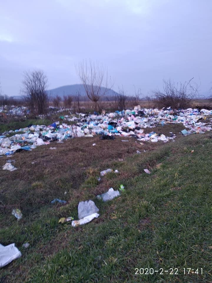 Фотографии стихийных свалки, которое образовалось в поле неподалеку Виноградова на Закарпатье, распространяют пользователи соцсетей.