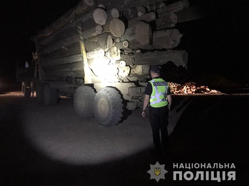 Поліцейські виявили вантажівку з деревиною сумнівного походження.