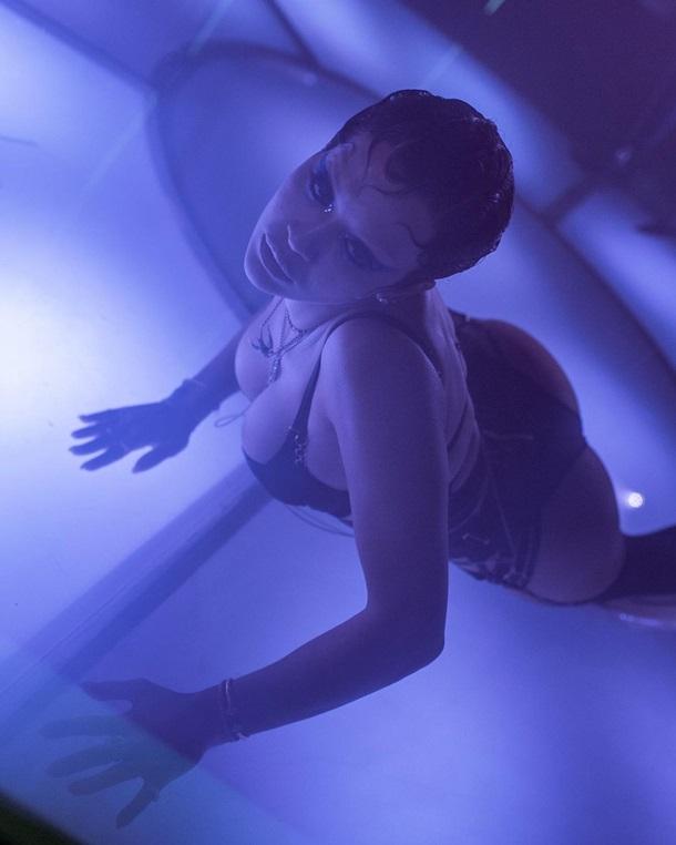 Співачка позувала в напівпрозорому комплекті спідньої білизни темно-фіолетового кольору, оформленому безліччю ремінців на спині, а також чорних панчохах.