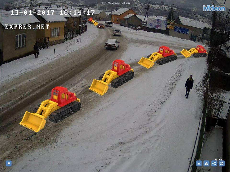 Закарпатці жартують про прибирання снігу в області (фотожаба)