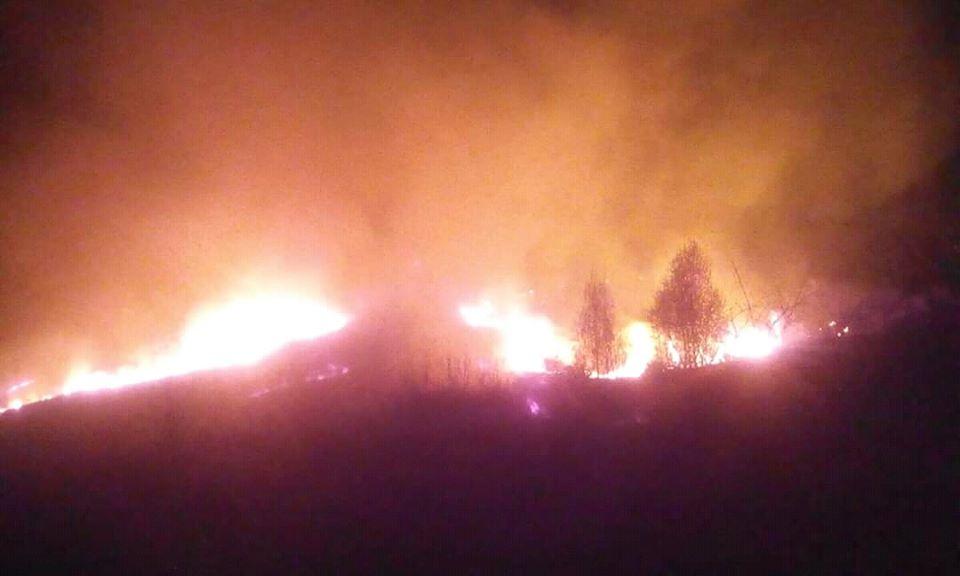 Біля села Широке горіла суха трава та чагарники.