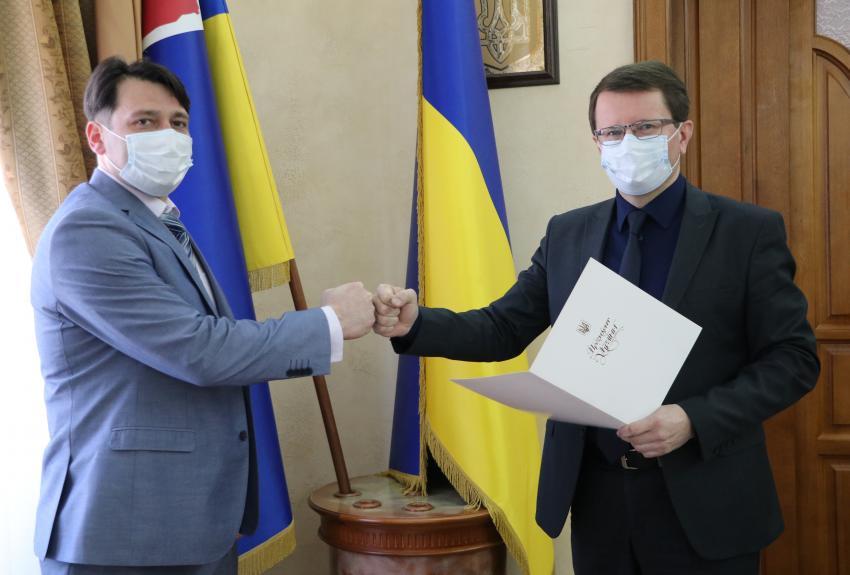 Анатолій Полосков привітав новопризначеного голову Рахівської РДА.
