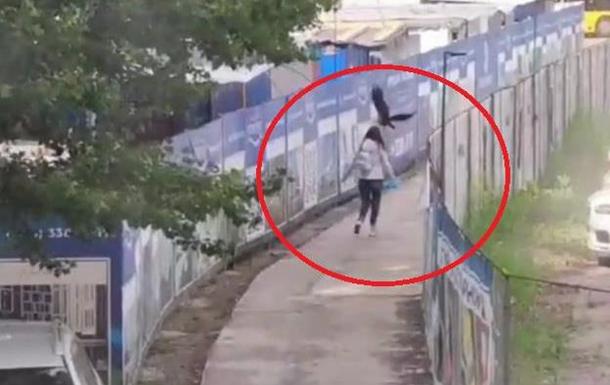 Очевидець опублікувала в соцмережах відео нападу великої ворони на жінку, яка проходила повз і змушена була тікати.