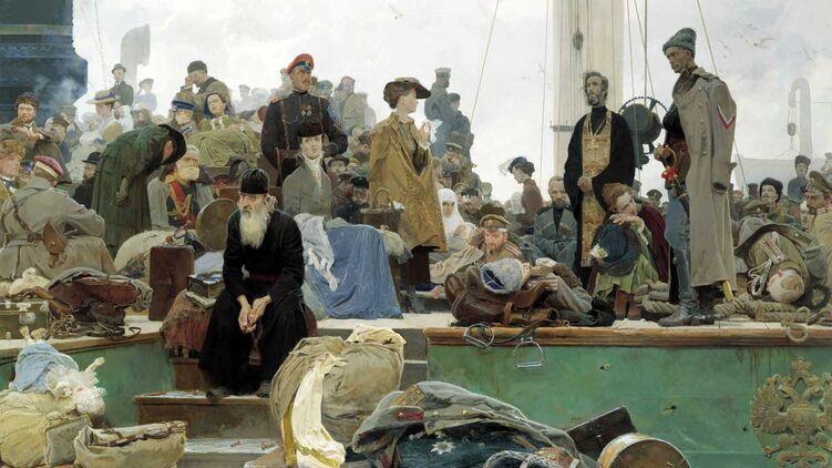 Поразка Білої армії в Криму та її евакуація в листопаді 1920 року стали сюжетом для багатьох художніх творів.