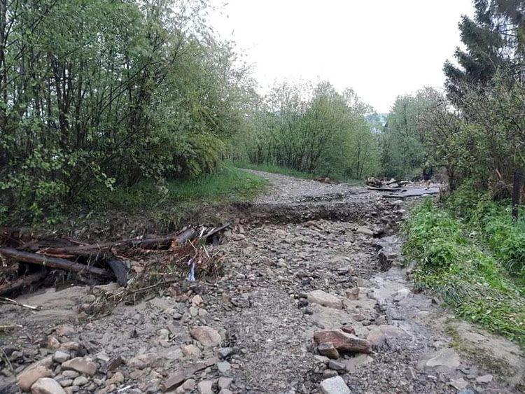 Сильні опади у вихідні на Прикарпатті призвели до підтоплення садиб, руйнування містків та місцевих доріг.