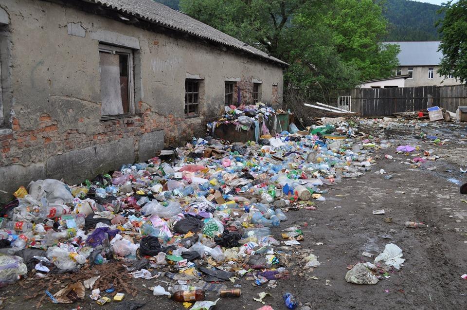 У Міжгір'ї неподалік райвідділу поліції та школи, влаштували стихійне сміттєзвалище