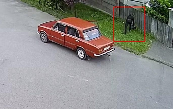 Собаку чоловік залишив на узбіччі.
