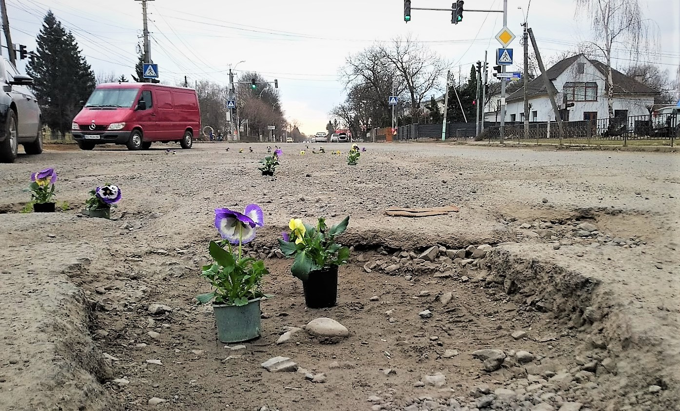 Фото 4 - На Закарпатті ями на дорогах по маршруту Порошенка прикрасили квітами у вазонах (ФОТО)