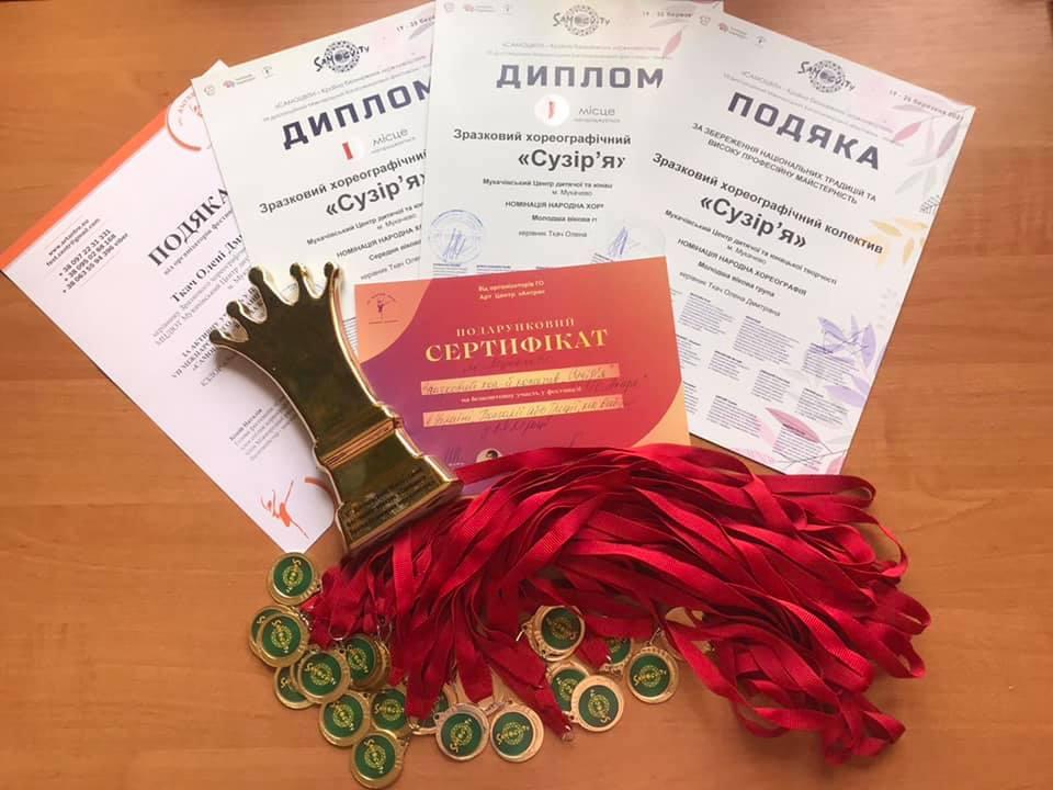 Вихованці зразкового хореографічного колективу «Сузір'я» Мукачівського центру дитячої та юнацької творчості виступали у номінації «народний танець».