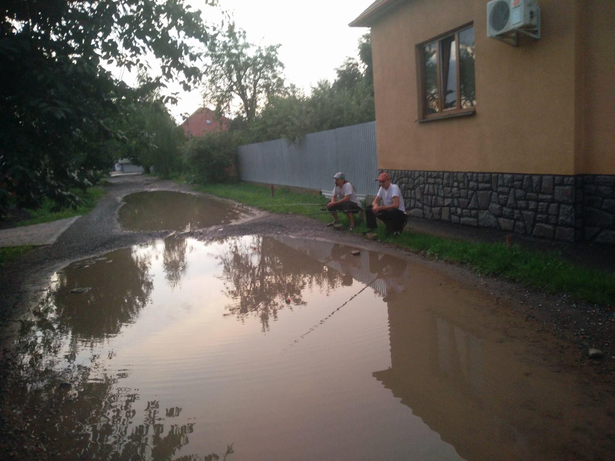 """Закарпатці жартують над темою затоплених вулиць та влаштувують """"риболовлю"""" прямо на дорозі"""