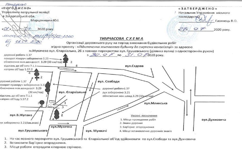 30-31 липня в Мукачеві буде перекрито рух для автомобілів по вулиці Михайла Грушевського, а саме на ділянці вулиці з одностороннім рухом.