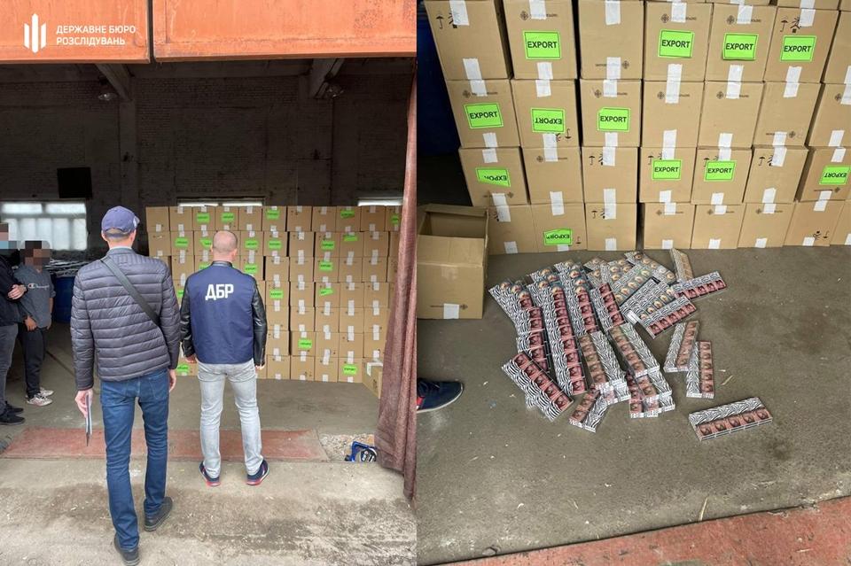 Працівники ДБР вилучили понад 2 тисячі ящиків з більше ніж 1 млн пачок тютюнових виробів.