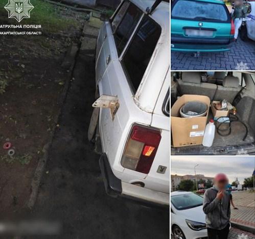 Ужгородські патрульні затримали крадія завдяки свідку-заявнику, з автівки якого той зливав бензин.
