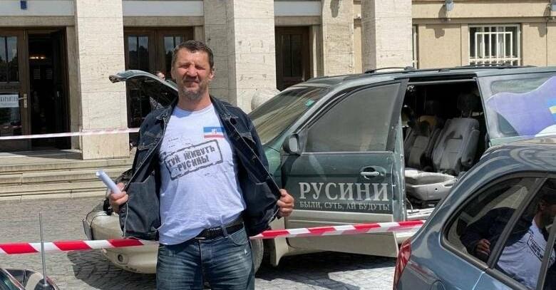 Сьогодні біля ОДА горів транспортний засіб Івана Данацка,  відомого в Закарпатті активіста.