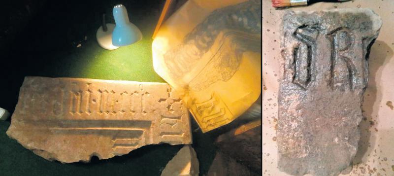 Наприкінці квітня на території руїн церкви Володимир Мойжес знайшов уламок із написом.