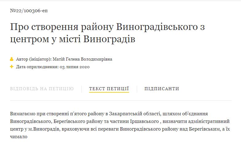 Стало відомо, скільки людей підписалося за звернення до президента з проханням відстояти інтереси Виноградівського району.