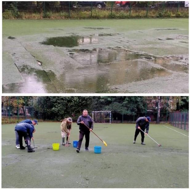 Матч в рамках обласного чемпіонату по футботу проводили в одній із шкіл, бо два міські стадіони у Виноградові - зачинені.